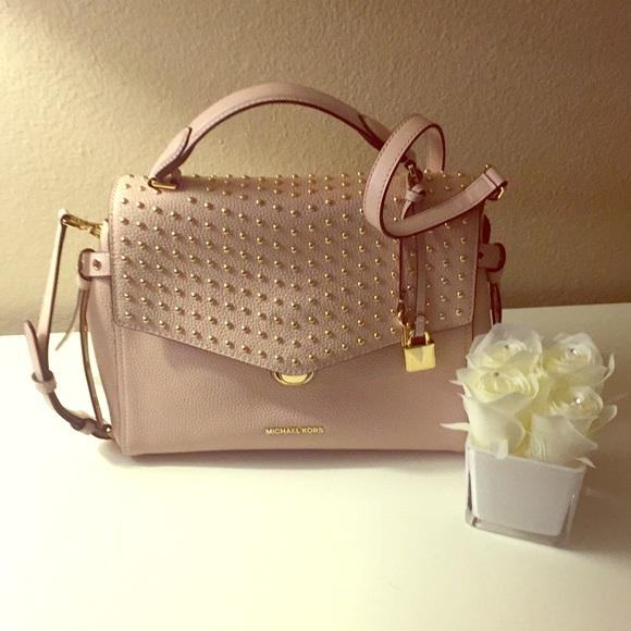 bd850583945316 Michael Kors Bags | Bristol Studded Leather Bag Pink | Poshmark